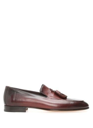 Santoni %100 Deri Loafer Ayakkabı Bordo